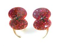 Red Poppy Flower Crystal Sparkle Earrings.